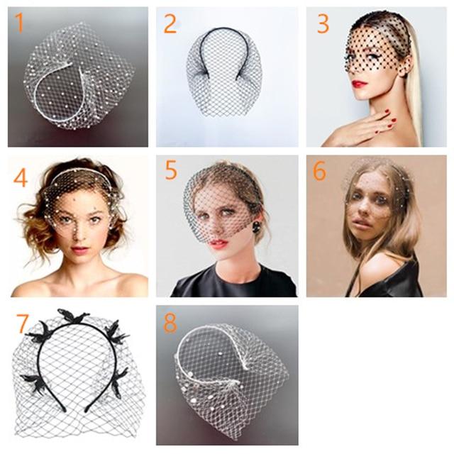 White Headband Veil for Bridal Crystal Birdcage Black Face Net Mask Hair Jewelry Accessories Veils Charming Wedding Fascinators 6