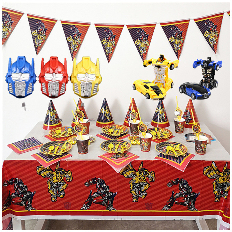 Transformation Bumblebee Optimus Prime Theme Party Decorations Paper Cup Plate Baby Shower Balloons Kids Birthday Party Supplies