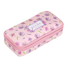 Floral Pencil Case with Compartments -High Capacity Double Layers Pencil Pouch Stationery Organizer Multifunction Makeup(China)