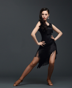 Image 5 - Red Latin Dance Dress Adult Practice Latin Dance Dress Tassel one piece Dess for Women Ballroom Tango Cha Cha Dance Costumes