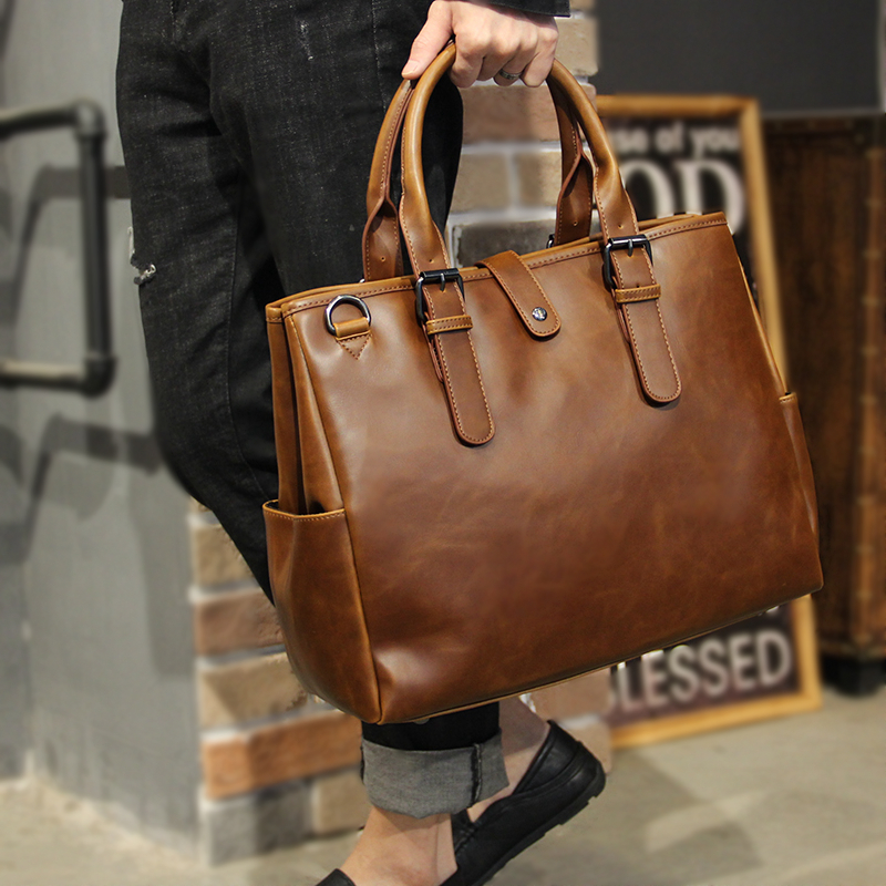 Vintage Crazy Horse Leather Handbag Large Capacity Men's Leisure Maletas Computer Bag Retro Simple Office Briefcase