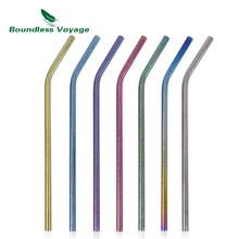купить Boundless Voyage Titanium Curved/Straight Straw Cleaning Multi-color Reusable Straw with Cleaning Brush for Juice Water Coffee по цене 527.98 рублей