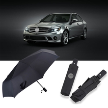 Automatic Business Car Brand Logo Umbrella Sun Rain Beauty Car Umbrella For Mercedes Benz W210 E63 W202 W205 W207 A C E S Class