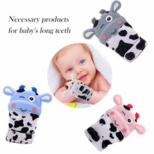 Newborn Baby Cute Cartoon Silicone Teether Safe Mitten Pain Relief Self-Soothing Teething Glove For