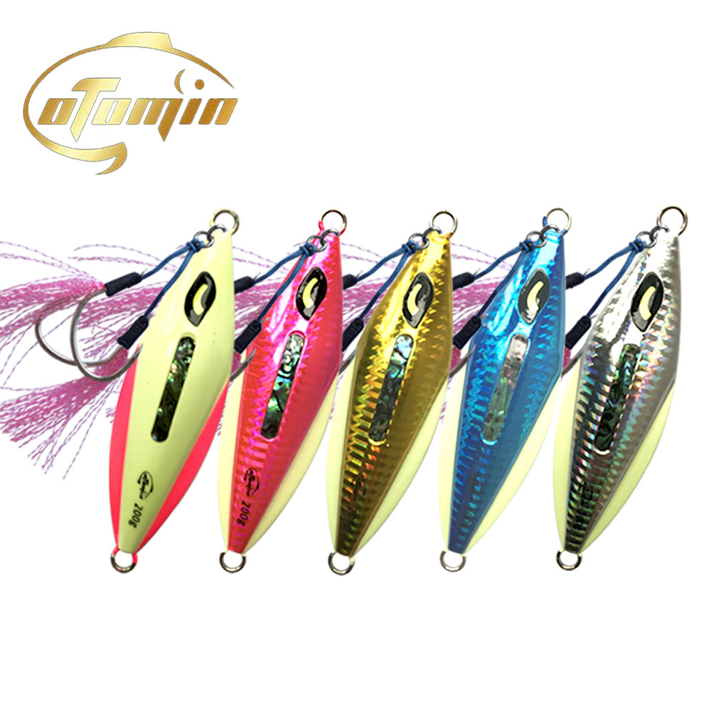 otomin Slow Metal Jigging Double Hooks Sinking Glow Jig 200g 300g Slow Falling luminous Lure Fishing Jig Artificial Angler Bait image