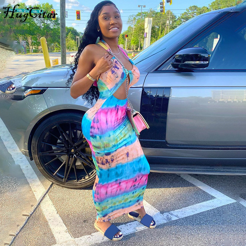 Hugcitar 2020 tie dye colorful stripe halter bodycon sexy maxi long dress summer women fashion streetwear outfits sundress