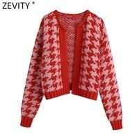 Zevity donna Vintage pied de poule stampa cuciture aperte maglione lavorato a maglia corto donna Chic cardigan a maniche lunghe cappotto top SW907