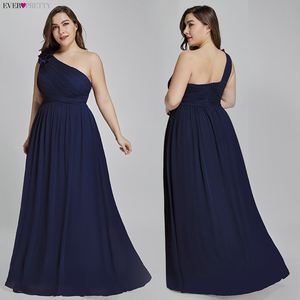 Image 3 - Plus Size Burgundy Chiffon Bridesmaid Dresses Long Ever Pretty EP08237 A Line Sleeveless Elegant Formal Wedding Guest Gowns 2020