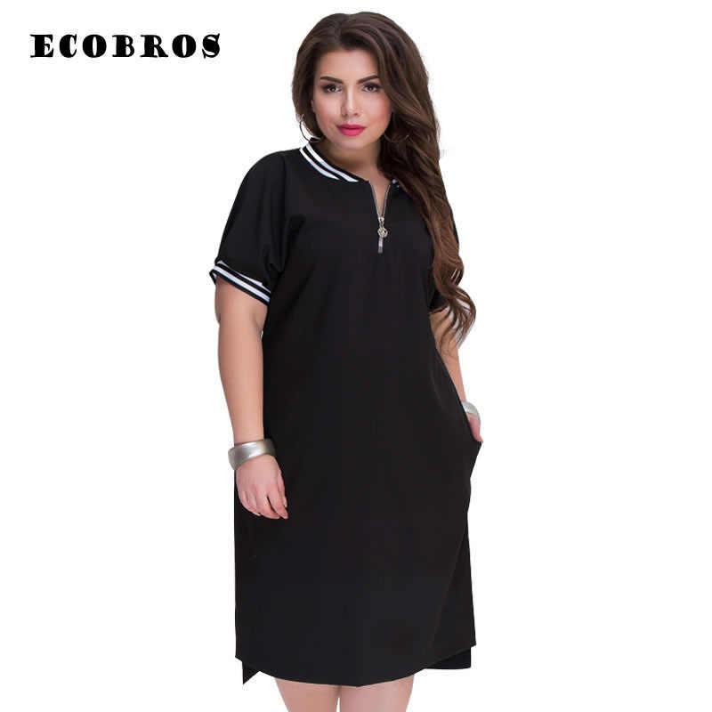 ECOBROS Grande formato 6XL 2018 Autunno Grasso MM vestito da Donna Elegante patchwork solid abiti plus size abbigliamento donna 6xl vestito vestido