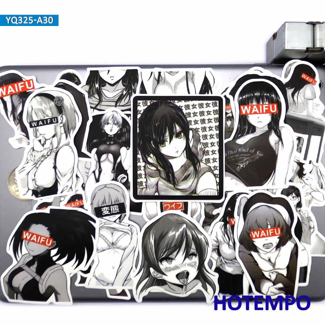 30 pieces noir et blanc style comique sexy manga filles anime autocollants pour ordinateur portable et telephone portable valise otaku bien etre
