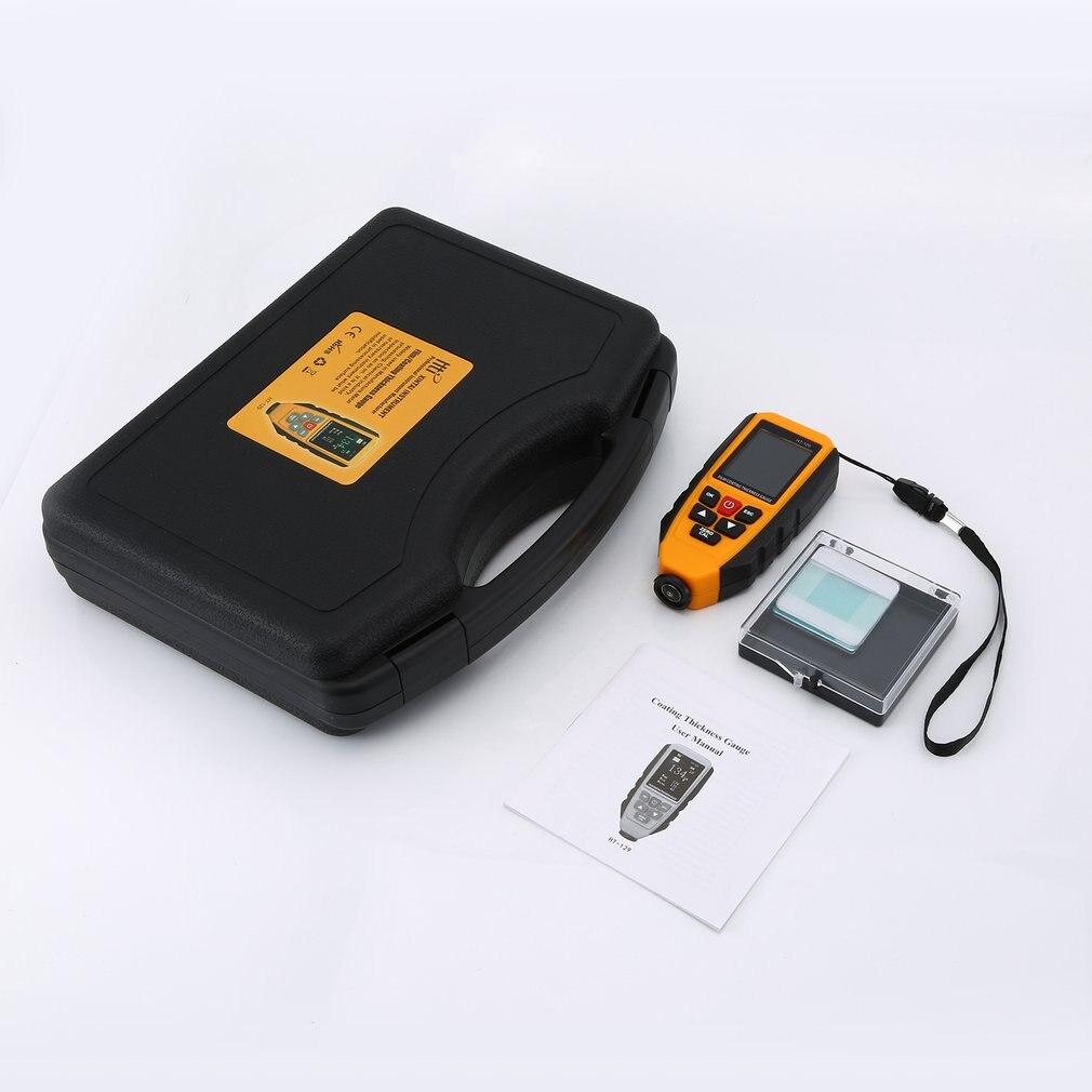 Aletler'ten Genişlik Ölçme Cihazları'de Taşınabilir dijital araba boyası kaplama kalınlık ölçer ölçer 0 ~ 1300um FE/NFE Metal genişliği test cihazı ölçüm HT 129 title=