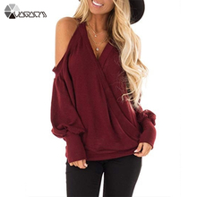Autumn Women T Shirt Halter Neck Solid Color Pullover Casual Tee Shirt Sexy V Neck Cross Top Sweatshirt Plus Size Off Shoulder plus open shoulder sweatshirt