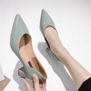 Image 3 - Женские туфли на высоком каблуке в европейском стиле; коллекция 2019 года; сезон весна; новые женские туфли лодочки; тонкие туфли с острым носком на толстой подошве; Рабочая обувь