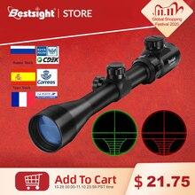 3 9x40 optik kapsam kırmızı yeşil telemetre işıklı optik Sniper tüfek kapsam avcılık kapsamları tüfek