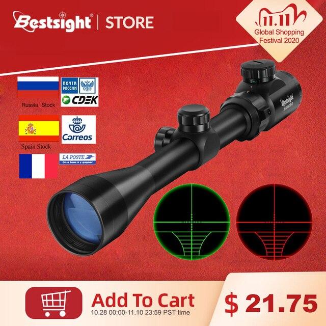 Mira óptica 3 9x40 com visor óptico vermelho verde, mira telescópica iluminada para rifle de atirador, com telêmetro