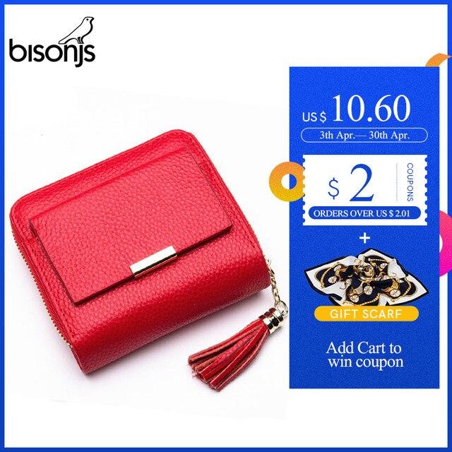 $ US $12.60 BISONJS Leather Women Wallet Zipper Purse Coin Pocket Wallet Cowhide Female Short Card Holder carteira feminina B3276