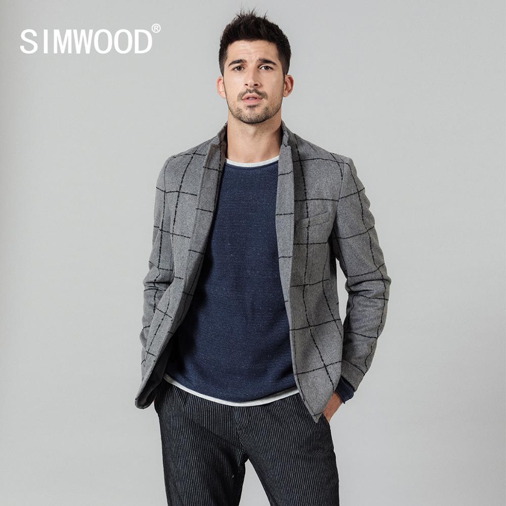 SIMWOOD 2020 春冬の新カジュアルブレザー男性ファッションチェック柄スーツジャケットウールブレンドチェックコートプラスサイズ生き抜く SI980660