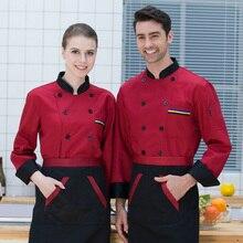 Мужская рубашка с длинным рукавом, осенняя Униформа шеф-повара, костюмы для повара, для столовой, ресторана, печать, дышащие мужские топы