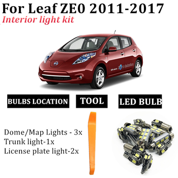 6x Canbus Error Free Interior LED Bulb Map Dome Roof Light Kit For Nissan Leaf ZE0 2011-2017 Accessories Car Lamp styling 1