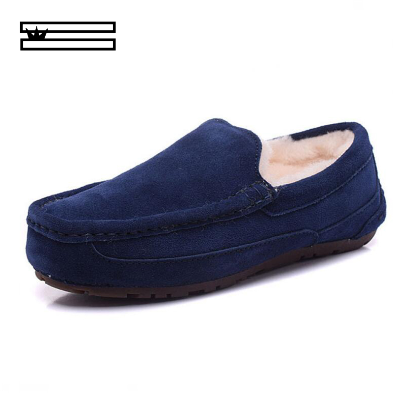 SHUANGGUN Top Fashion Men's Genuine Leather Snow Shoes Lace Winter Shoes Genuine Sheepskin Leather Natural Wool Flat-soled Shoes