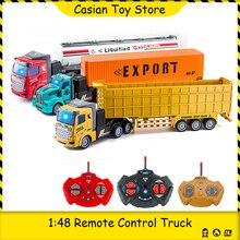 1:48 Remote Control Construction Truck Heavy Transport Truck Big Van Dump Dumper Transporter Container Car Toys for Boys