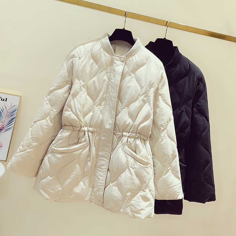 2019 Winter Clothes   Down   Jackets Woman The Waist Is Slim And The Rope Is Slim. Long Fund Round Neck Bai Yarong Loose   Coat     Down