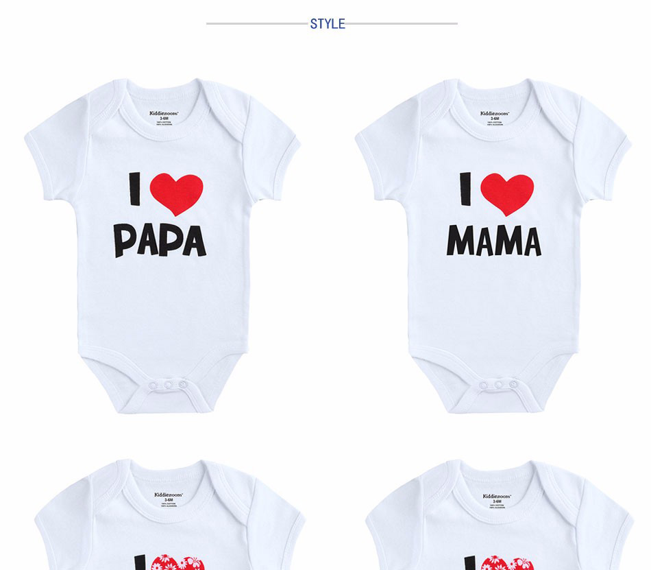 2PCS/LOT Newborn Baby Clothes Short Sleeve Girl Boy Clothing  I Love Papa Mama Design 100%Cotton Rompers de bebe Costumes White | Happy Baby Mama