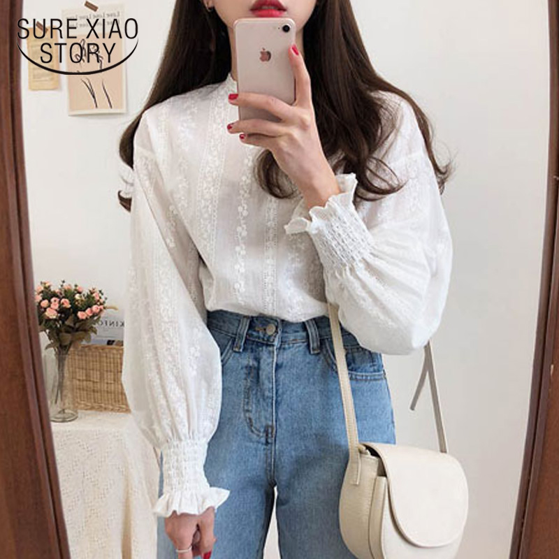 Embroidery Lace Shirt Plus Size Spring Women Long Sleeve Linen Cotton Girls Blouse Femme Casual White Tops Women Blouses 6874 50