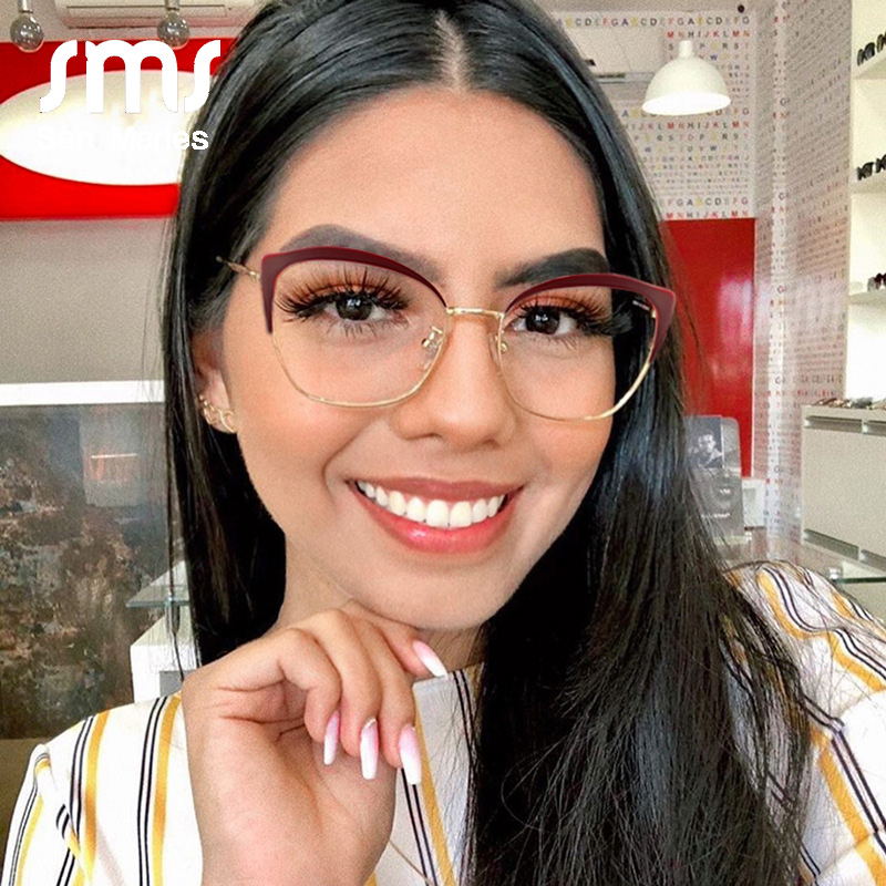 New Cat Eye Metal Flat Mirror Women 2019 Luxury Brand Designer Optical Clear Lens Unique Legs Retro Glasses Frame Myopia Oculos