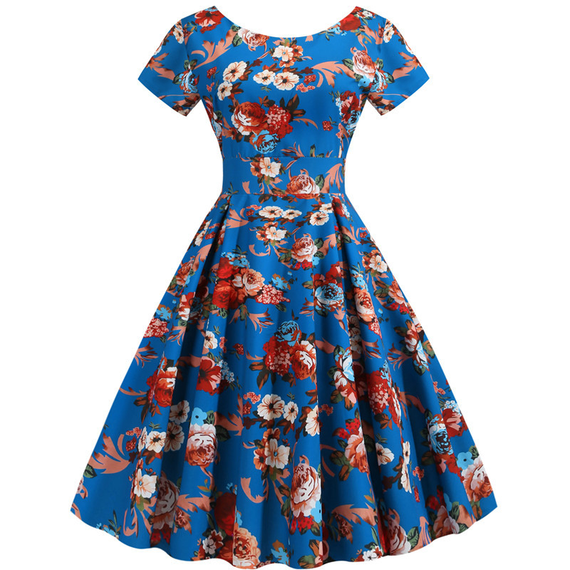Summer Floral Print Elegant A-line Party Dress Women Slim White Short Sleeve Swing Pin up Vintage Dresses Plus Size Robe Femme 6