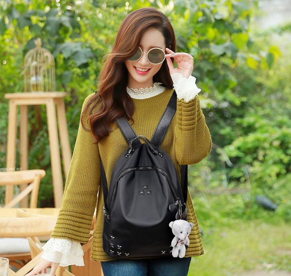 Rivet Mini Backpck School Bag Nylon Oxford Shoulder Bag For Women Backpacks-for-teenage-girls Female Rucksack College Bag