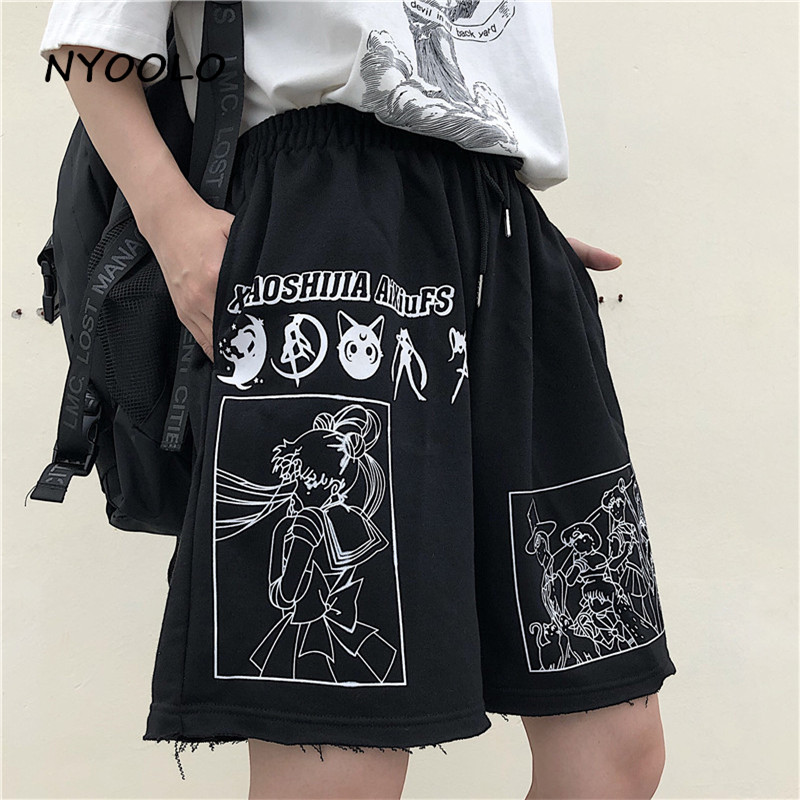 NYOOLO Summer Streetwear Cartoon Comic Sailor Moon Letters Print High Waist Shorts Casual Loose Elastic Waist Straight Shorts