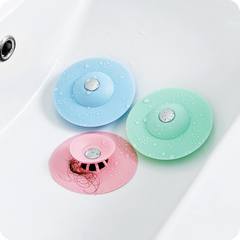 Kitchen Sink Drain Filter Plugs Strainers Sewer Hair Filter Collect Bath Drain Stopper Sink Floor Drain Plug Press Type