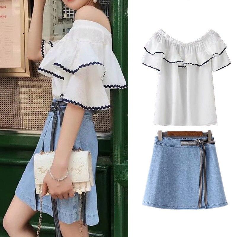 2018 Summer Off-Shoulder Flounced Horizontal Neck Doll Shirt Tops + High-waisted Half-length Denim Skirt Two-Piece Set J8471