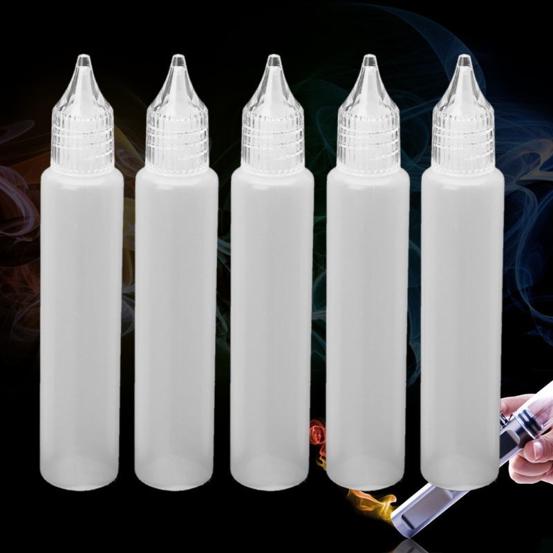 5Pcs E-Juice Bottle Vape Drip Tip Plastic  Storage Squeezable Dropper 30ml