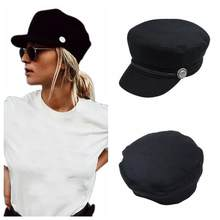Mode Frauen Männer Baumwolle Casual Stil Saiten Klapp Taste Golf Kappe Stilvolle Retro Metall Ornament Hut Berets(China)