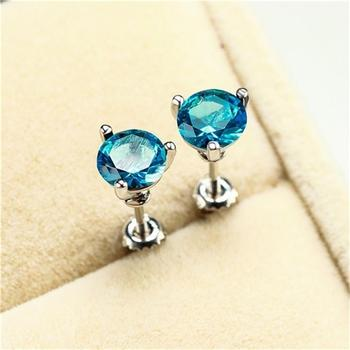 Three-Prong Martini 1ct Round Aquamarine Stud Earrings White Gold Bride Wedding Engagement Jewelry Gifts image