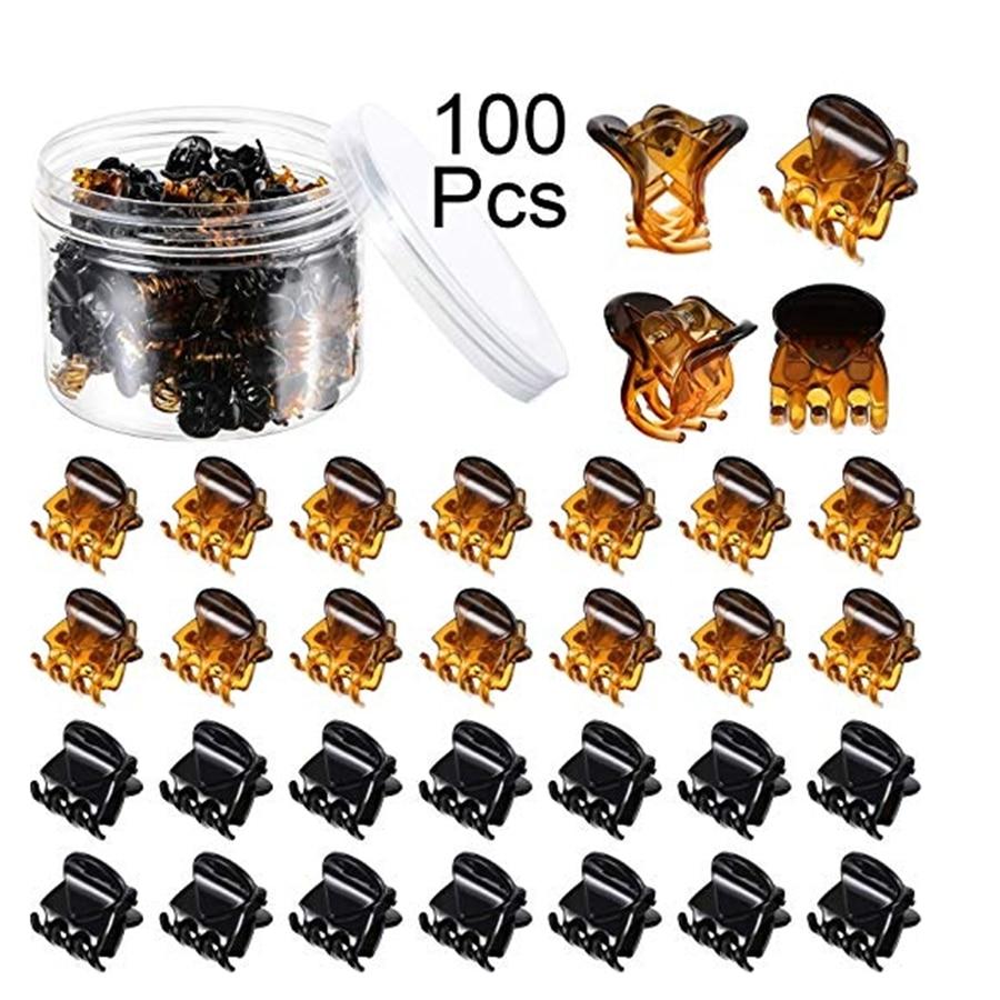 100 pces 1.5cm/1cm preto/marrom/transparente mini grampos de garra de cabelo grampos de garras de plástico grampos de maxila pequena para meninas e mulheres, acc101