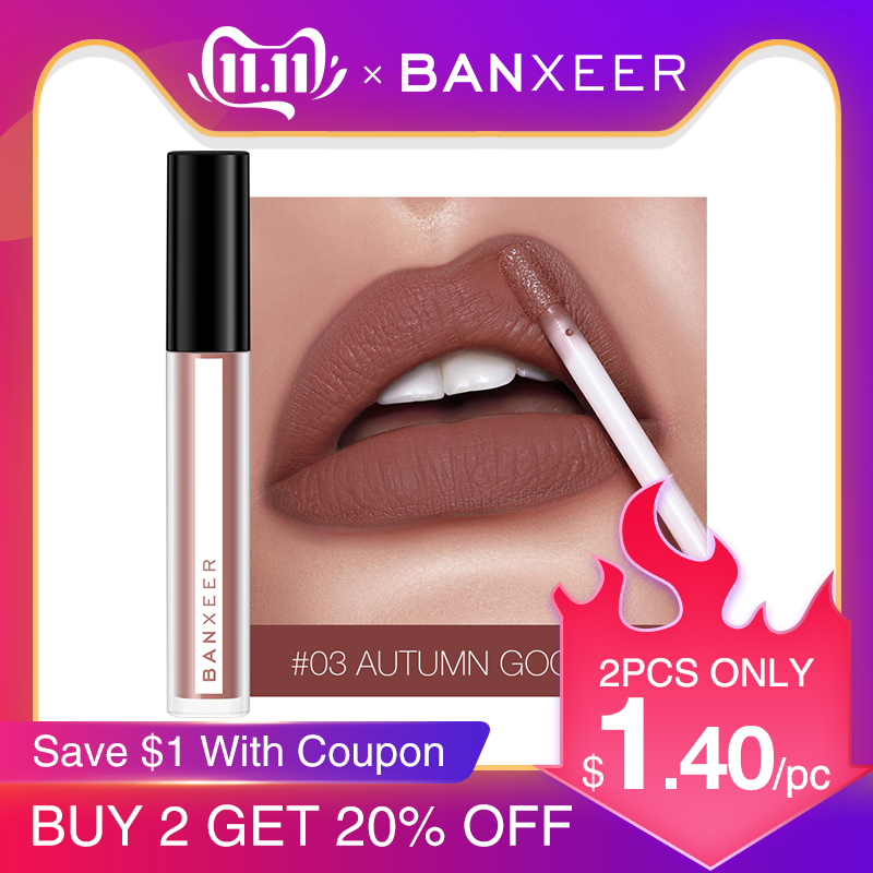 BANXEER Lipgloss Matte 8 Colors Lip Gloss Velvety Lipstick Liquid Matte Waterproof Lip Tint Full & rich Sexy Lip Makeup Cosmetic-in Lip Gloss from Beauty & Health