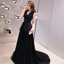 New Evening Dress A Line Elegant Satin Gown Black Trailing Prom Dresses 2019 vestido longo festa