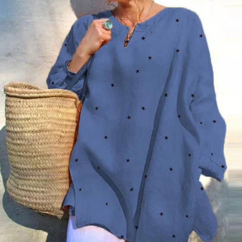 Jocoo Jolee Long Sleeve V Neck Stars Print Loose Blouse Casual Oversized Shirt 2020 New Elegant Tops Ladies Clothing 8