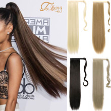 Talang longa reta envoltório em torno do grampo na extensão do cabelo rabo de cavalo resistente ao calor sintético pônei cauda falso cabelo