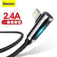 Baseus-Cable USB LED para iPhone 12 Pro Max XS XR, cargador de carga rápida de 90 grados para iPad Airpods Pro, Cable de datos para teléfono