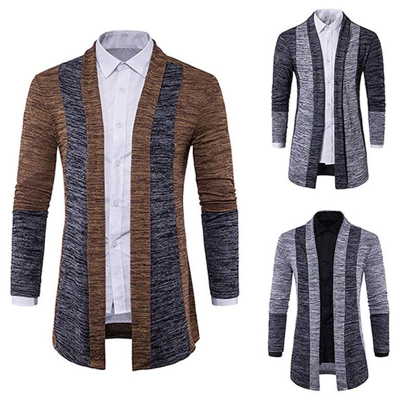 Men Cardigan Jacket Men's Wool Spring Casual Thin Fashion Autumn Patchwork O-Neck Knit-Top title=
