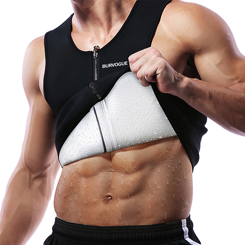 Burvogue Sweat Sauna Body Shaper Men Slimming Vest Thermo Neoprene Waist Trainer Corsets Zipper Shapewear Sauna Suits Tank Top