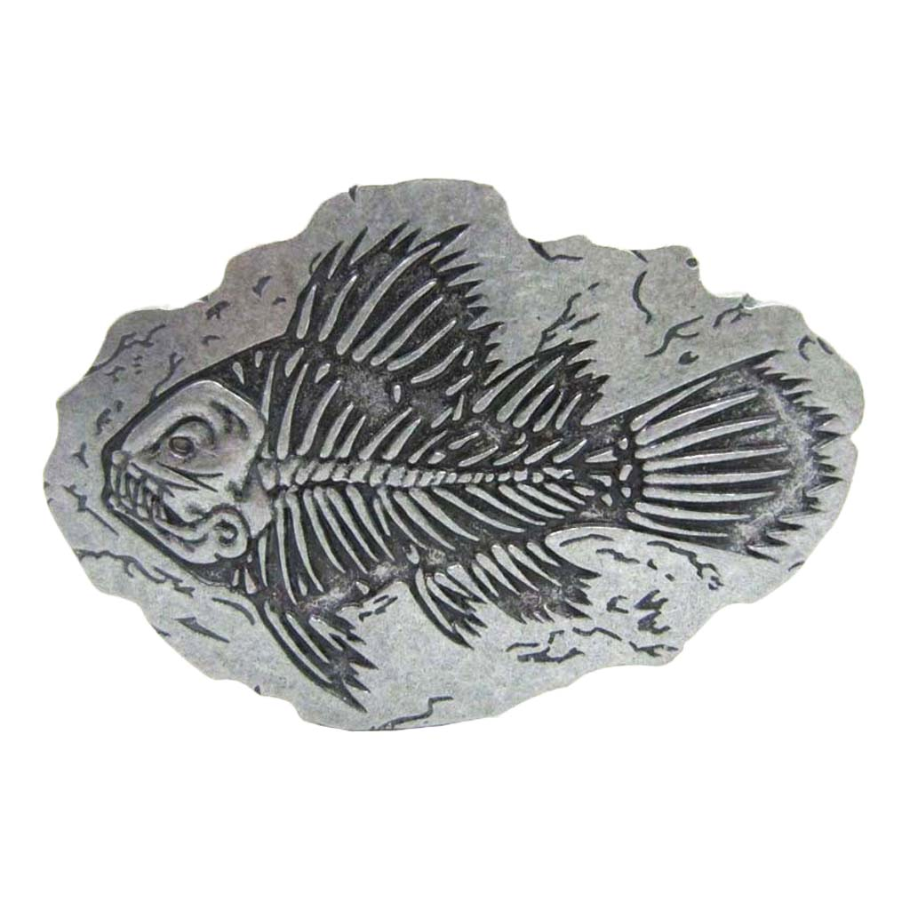 Metal Belt Buckle Retro Fish Skeleton Prehistoric Fish Bone Western Cowboy Accessories