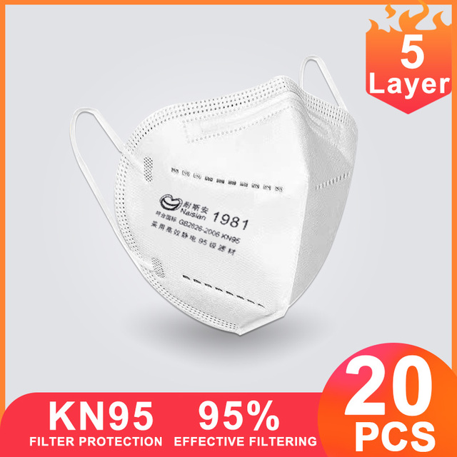 20 Pcs KN95 Face Mask 95% Filter Mouth Mask Anti Flu Protective Respirator Mask K95 Mascarilla Masque ff Facemasks Wholesale