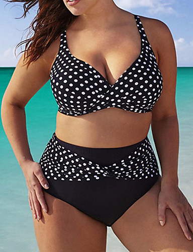 2019 Summer Dots Split Bikini Two Piece 5xl Swimming Suit Women High Waist Slightly Thin Belly Bikini Large Size Swimwear Women
