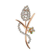 Rhinestones Flower Brooches for Women Crystal Brooch for Women Vintage Brooch Plant Pins Metal Leaf Pin Woman Brooch for Clothes charming solid color maple leaf brooch pins for women