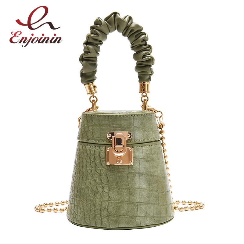 Crocodile Pu Leather Bucket Bag Small Crossbody Bag Fashion Shoulder Chain Bag Women Purses and Handbags Luxury Designer Handbag